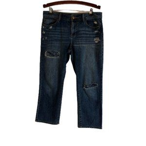 American Rag Crop Capri Distressed Patched Jeans